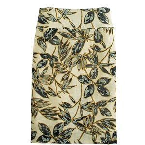 J. Crew Gold Foil Leaf Basketweave Pencil Skirt 8